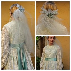 VINTAGE 50s/60s Baby Blue Short Elbow Wedding VEIL